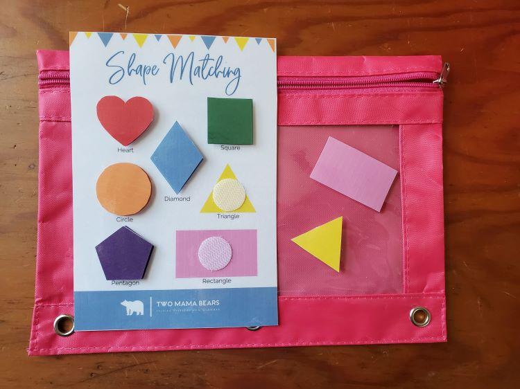 Preschool busy bag shapes