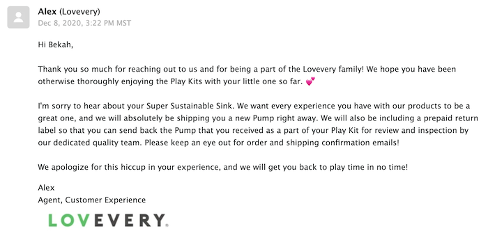 Lovevery customer service email