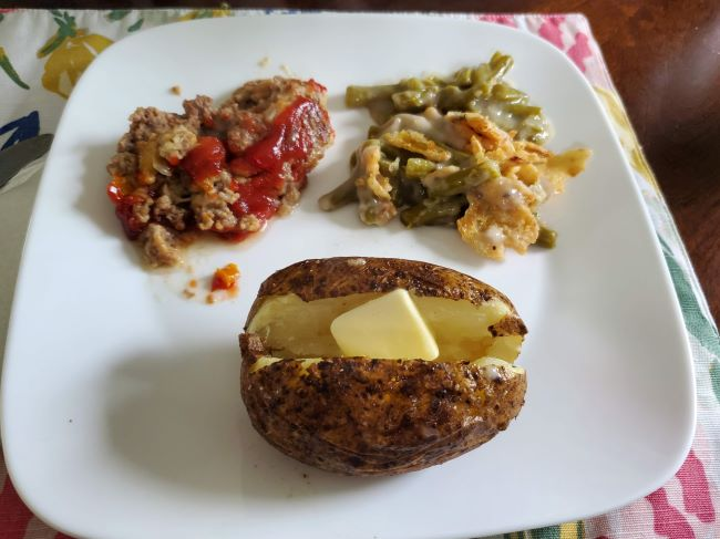 meatloaf meal on a plate