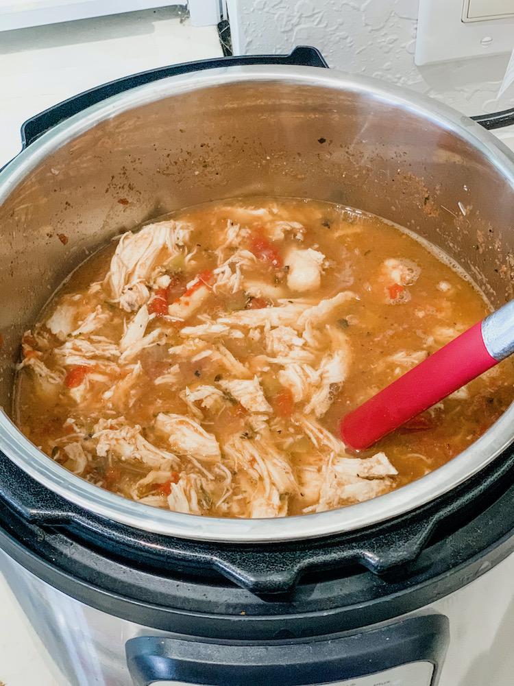 add chicken back to pot