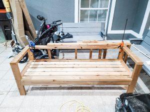 Outdoor patio couch in progress