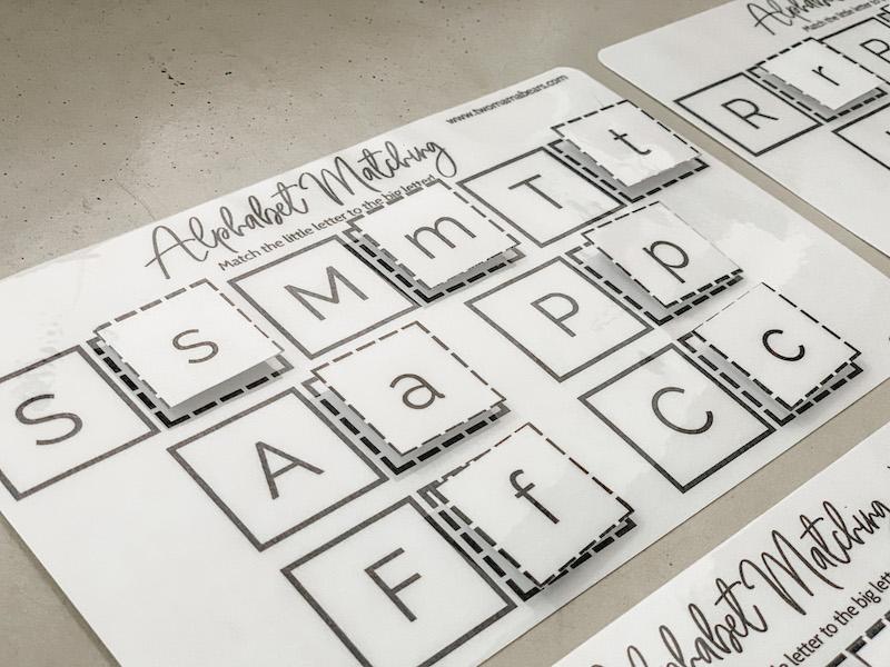 close up of montessori alphabet matching game