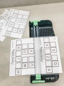 Cutting Montessori letter order second half sheets