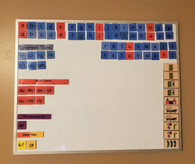 All About Reading magnetic letter tiles displayed on a white board