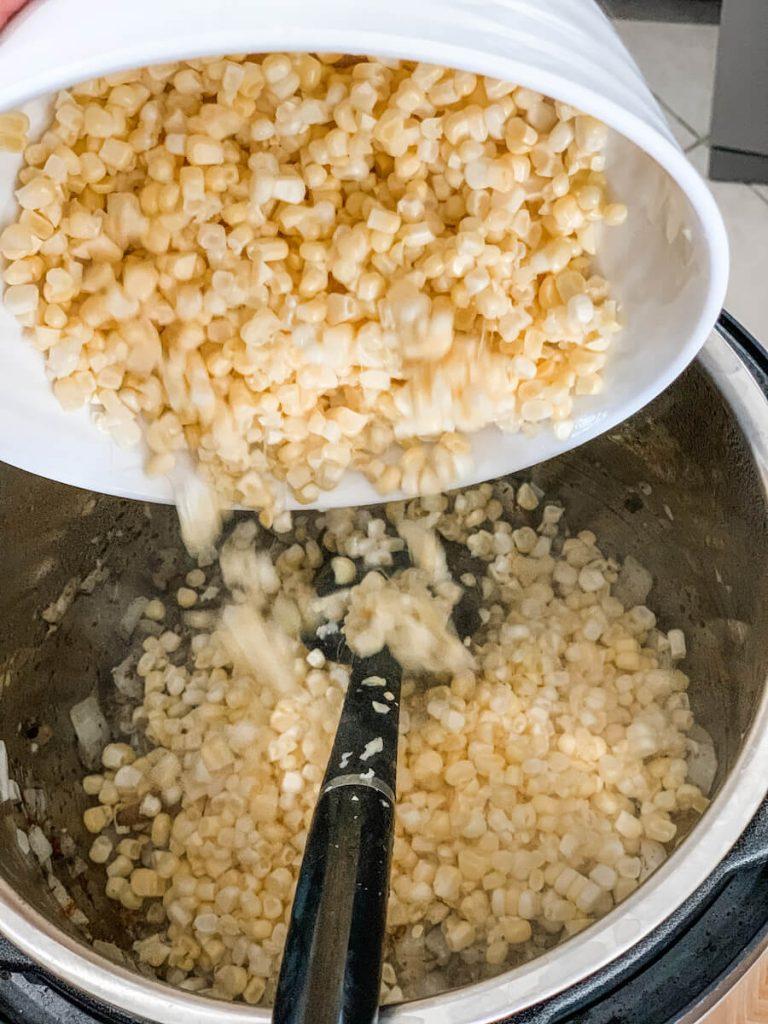 add your fresh corn