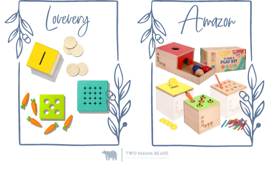 lovevery vs amazon coin bank and carrot wooden toy
